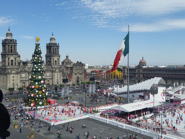 View from our Hotel Room of the Zocalo in Mexico City